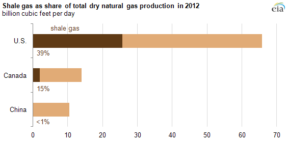 Graph of shale gas as share of total marketable natural gas production in 2012, as explained in the article text