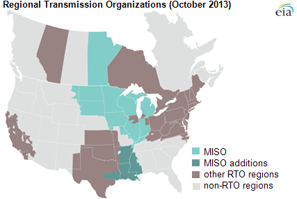 Graph of RTO regions and MISO additions, as explained in the article text