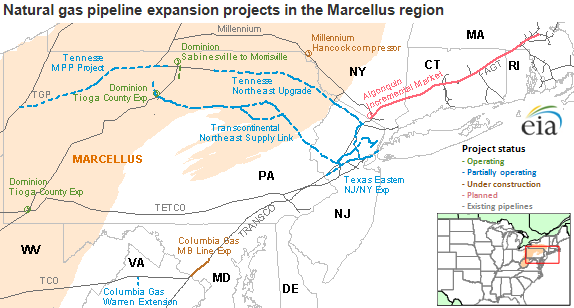 Marcellus natural gas pipeline projects to primarily benefit New