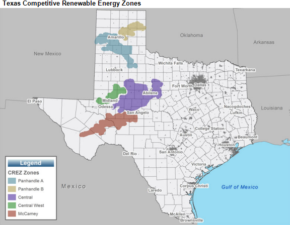 Map of CRE zones in Texas, as explained in the article text