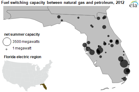map of fuel switching capacity between natural gas and petroleum, as explained in the article text