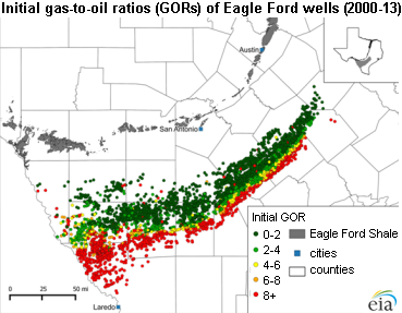 Eagle Ford Production Increasingly Targets Oilrich Areas Today - Oil production map us