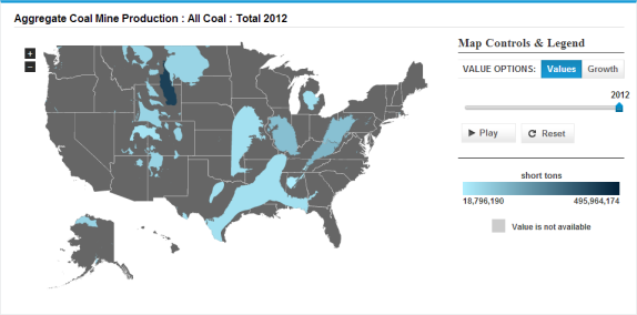 Map Of Aggregate Coal Mine Production As Described In The Article Text