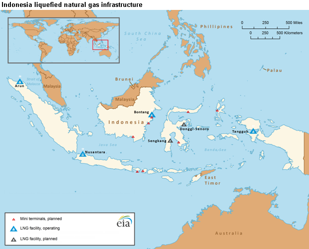 map of Indonesian liquefied natural gas infrastructure, as explained in the article text