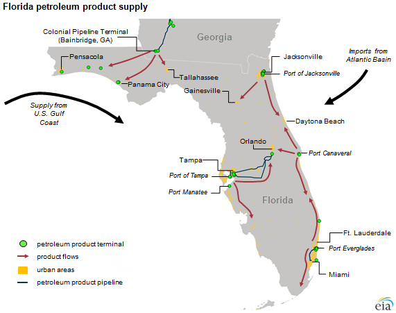 Florida Gasoline Supply Sources And Prices Reflect Broader