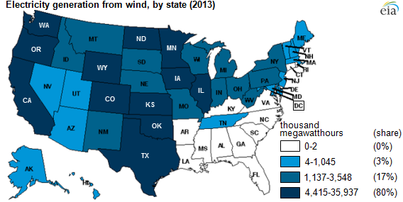 Twelve States Produced Of US Wind Power In Today In - Map of the wind farms in the us