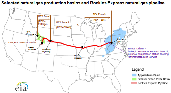 map of Rockies Express Pipeline, as explained in the article text