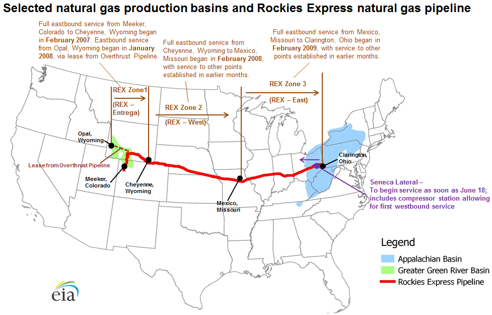 First Westbound Natural Gas Flows Begin On Rockies Express - Appalachian and rockies on us map
