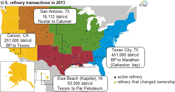 Map Us Oil Refineries 2014 U.S. petroleum refinery update: capacity edges up, ownership