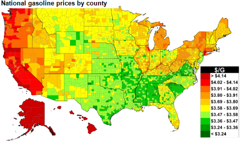 map of national gasoline prices by county, as explained in the article text