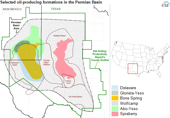 map of permian basin and plays as explained in the article text