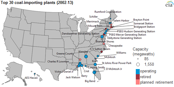 map of top 30 coal importing plants, as explained in the article text