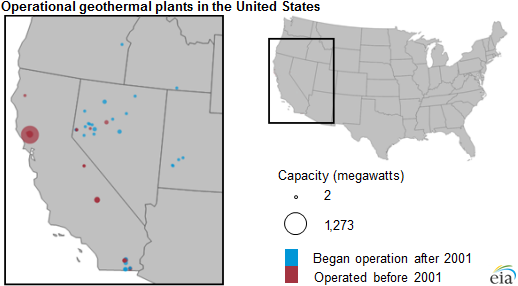 map of operation geothermal plants in the United States, as explained in the article text