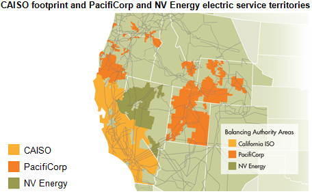 map of CAISO footprint and PacifiCorp and NV Energy electric service territories, as explained in the article text