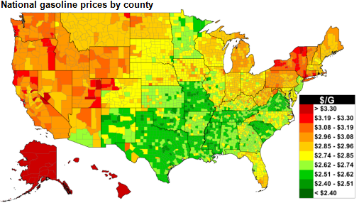map of U.S. retail gasoline prices, as explained in the article text