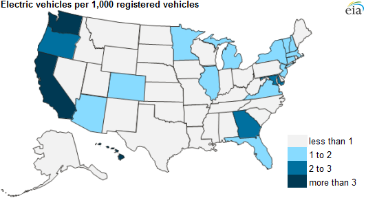map of EV registration in the United States, as explained in the article text