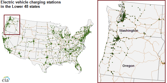 map of electric vehicle charging stations in the lower 48, as explained in the article text
