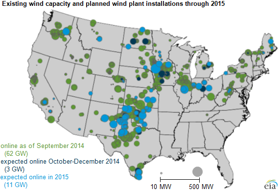 Map Of Existing Wind Capacity And Planned Wind Plant Installations Through 2015 As Explained In