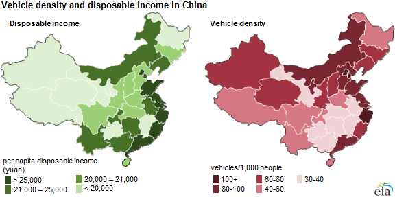 Maps of vehicle density and disposable income in China, as explained in the article text