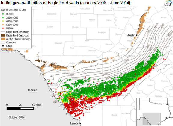 map of initial gas-to-oil ratios of Eagle Ford wells, as described in the article text