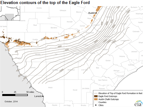 map of elevation contours of the top of the Eagle Ford formation, as described in the article text