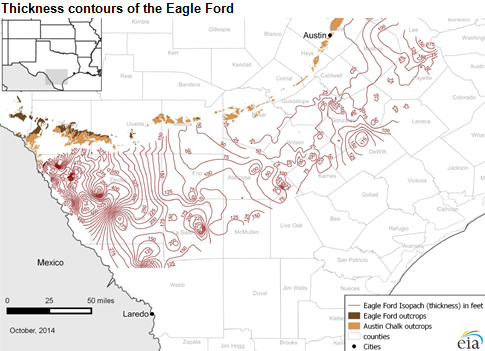 map of thickness contours of the Eagle Ford formation, as described in the article text