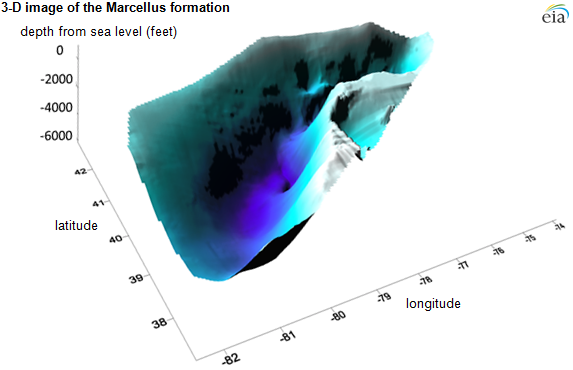3D image of the Marcellus formation, Appalachian basin, as explained in the text of the article