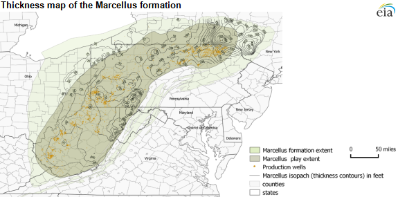 thickness map of the Marcellus formation, as explained in the text of the article