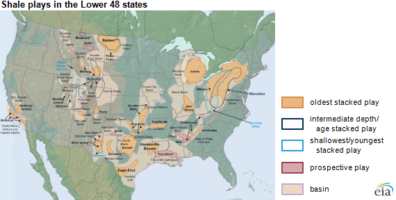 Map of lower 48 states shale plays, as explained in the article text