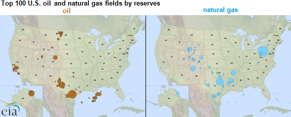 maps of top 100 U.S. oil and natural gas fields by reserves, as explained in the article text