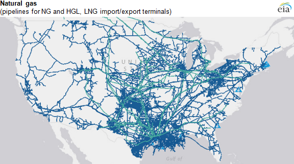 map of natural gas pipelines and terminals as described in the article text
