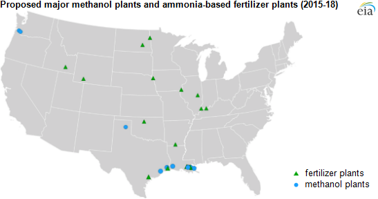 map of methanol and fertilizer plants, as explained in the article text