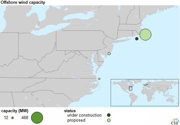 First Offshore Wind Farm In The United States Begins Construction - Map of the wind farms in the us