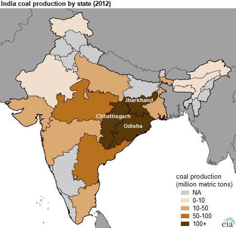 Map Of India S Domestic Coal Production As Explained In The Article Text