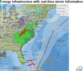 map of energy infrastructure with real-time storm information, as explained in the article text