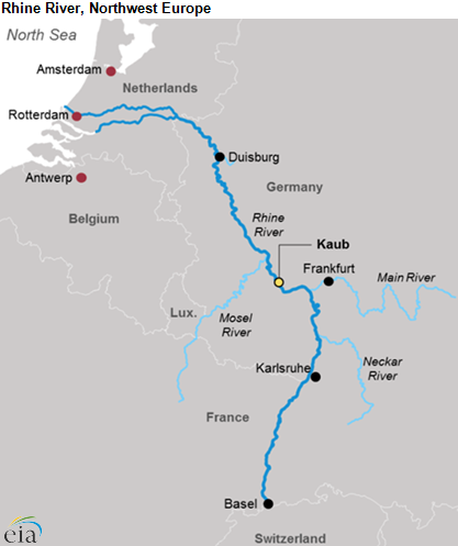 River Map Of Germany.Record Low Water Levels On Rhine River Are Disrupting Fuel Shipments