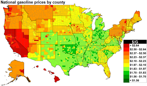 map of U.S. retail regular gasoline prices, as explained in the article text