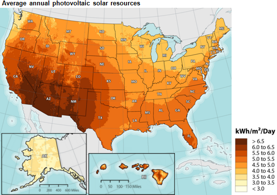 map of average annual povoltaic solar resources as explained in the article text