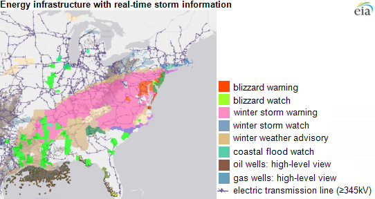 Upcoming Winter Storm May Cause Problems For East Coast Energy - Us infrastructure map