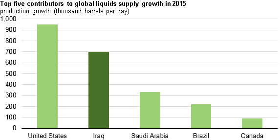 Iraq is second-leading contributor to global liquids supply growth in 2015