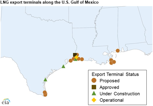 map of LNG export facilities, as explained in the article text