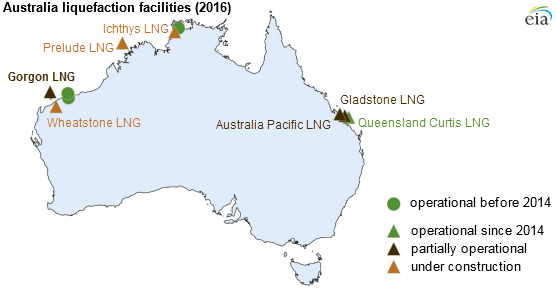Australia And Pacific Map.Australia S Gorgon One Of The World S Largest Lng Terminals Ships