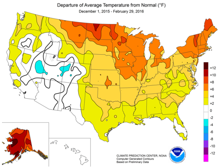 map of departure of average temperature from normal, as explained in the article text