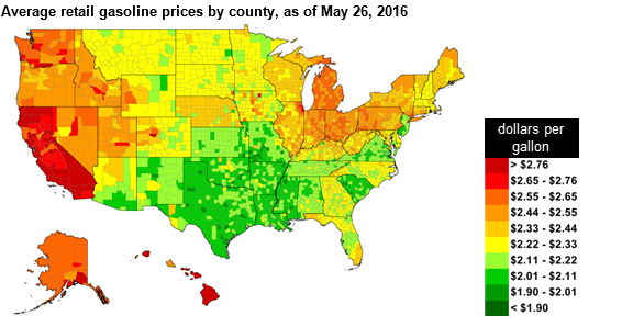 US Retail Gasoline Prices Lowest Since Ahead Of Memorial - Us gas price map