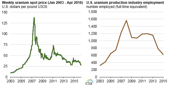graph of weekly uranium spot price and U.S. uranium production industry employment, as explained in the article text