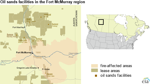 Fort Mcmurray Wildfire Map.Fires Near Fort Mcmurray Are Reducing Canada S Oil Sands Production