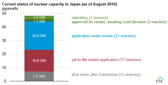graph of current status of nuclear capacity in Japan, as explained in the article text