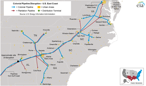 Map Of Colonial Pipeline As Explained In The Article Text