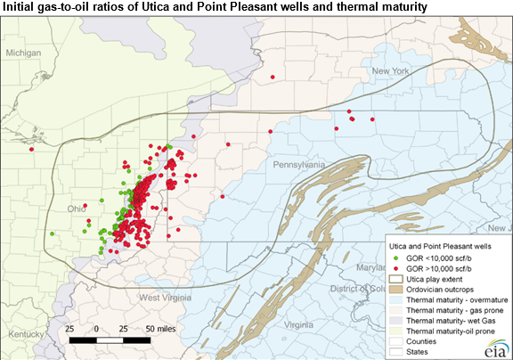 map of Initial gas-to-oil ratios (GORs) of Utica and Point Pleasant wells (through June 2016) and thermal maturity, as described in the article text