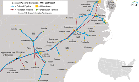 Major Gasoline Pipeline In Southeast Disrupted For Second Time In - Gasoline-pipeline-map-us